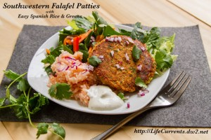 Southwestern Falafel with Easy Spanish Rice and Green Salad by Life Currents https://lifecurrentsblog.com