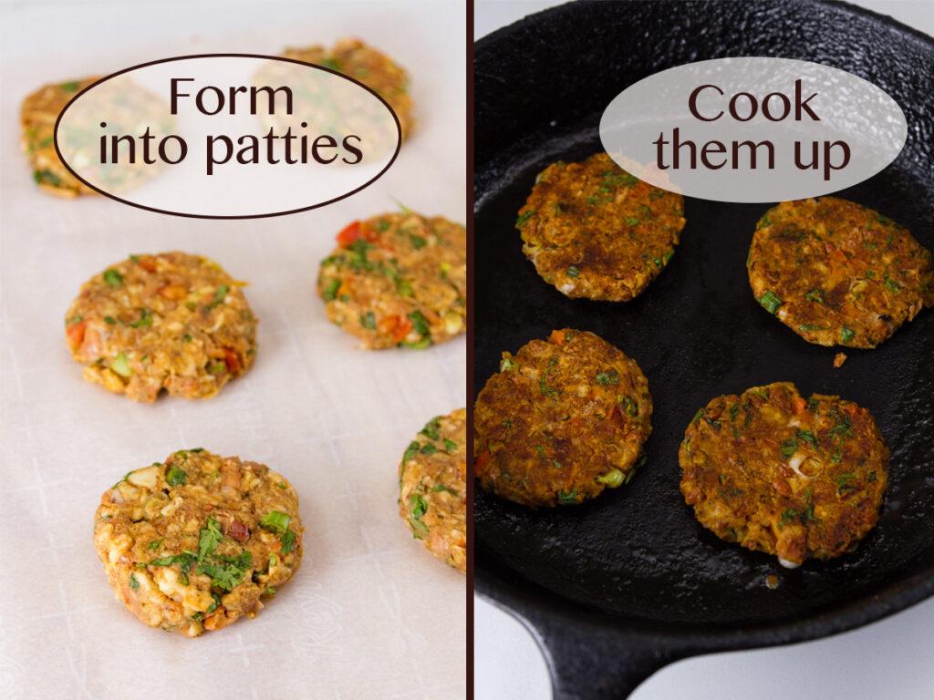 process shots on how to make falafel