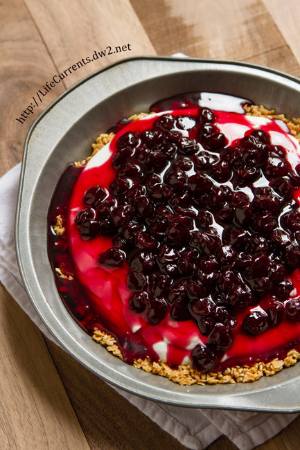 Cherry Yoghurt Cloud Pie with Granola Crust by Life Currents is a simple no-bake delicious breakfast or dessert treat using Mountain High Yoghurt https://lifecurrentsblog.com