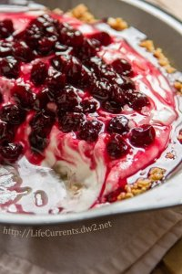 Cherry Yoghurt Cloud Pie with Granola Crust