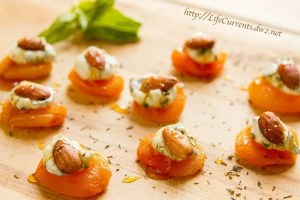 Apricots with Basil-Cream Cheese and Almonds