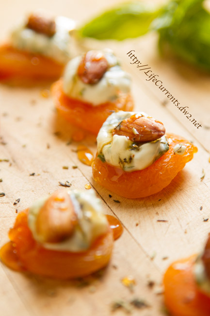 Sugared Pecans featured recipe for Apricots with Basil-Cream Cheese and Almonds are a great snack, appetizer, or a wonderful addition to Tapas night! by Life Currents