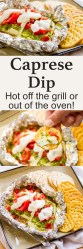 Caprese Dip hot off the grill or out of the oven for Tailgating Snacks Month! Dig in to this cheese filled dip with tomatoes and basil! https://lifecurrentsblog.com