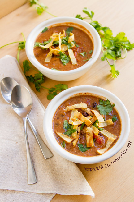 Slow Cooker Creamy Tortilla Soup is a great easy meal because it's made in the crock pot. And, you can feel good about serving this vegan dish. https://lifecurrentsblog.com