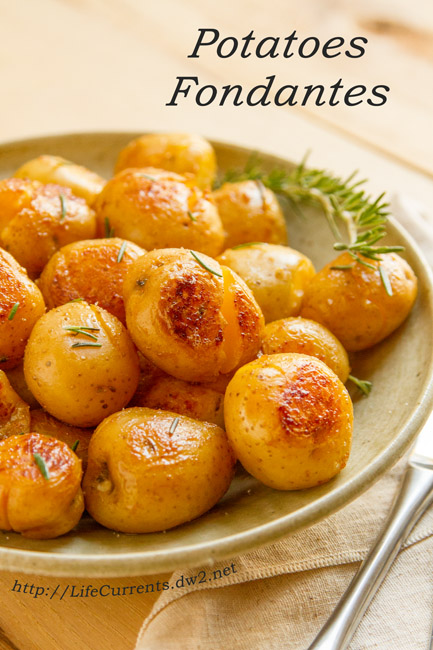Skinny Potato and Onion Bake featured recipe - These Potatoes Fondantes, or smashed potatoes, are so delicious! I've been making them for dinner parties and special events for years, and always get requests for the recipe.