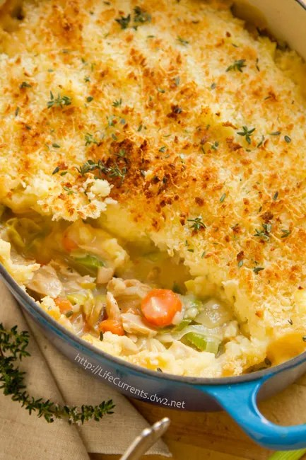This Seafood Shepherd's Pie or Fisherman's Pie would make a really impressive dinner for the fish lover in your family. It's great healthy comfort food, that's filled with seafood goodness, lots of veggies, and a nice flavorful sauce.