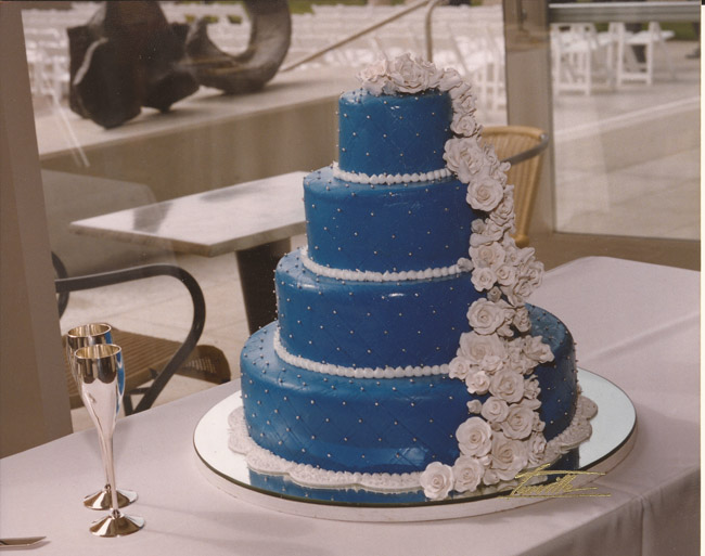Coconut Chocolate Marjolaine: A picture of my wedding cake, covered all in blue fondant