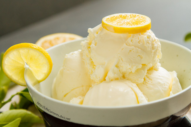 Lemon Ice Cream by Life Currents This Lemon Ice Cream is one of my favorites! Tangy, tart lemon, offsetting sweet cream. Not too sweet. Oh, this one is just so good!