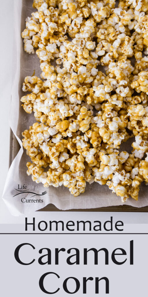 a rimmed baking sheet filled with Caramel Corn