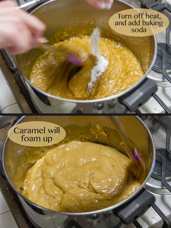 adding the baking soda to the pan of caramel