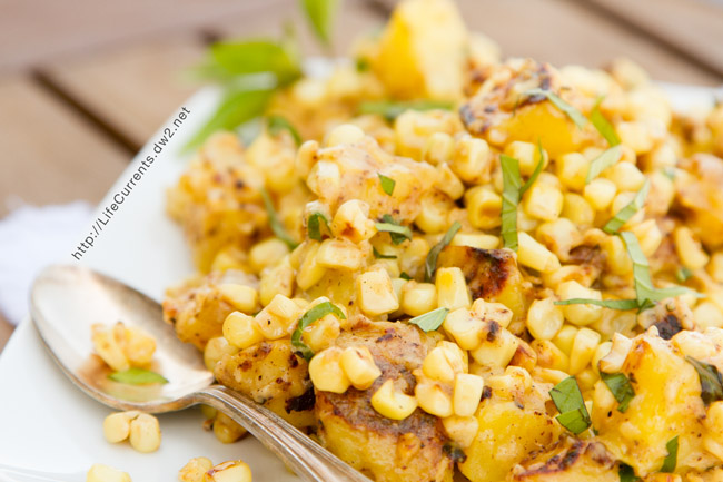 Corn Sauté with Fresh Basil and Potatoes a great side dish for summer or even a fancy family meal like Thanksgiving. Your family will love it, and you will love how easy it is!