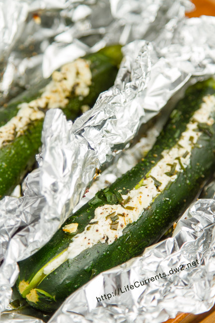 Grilled Stuffed Zucchini - Stuffed with goat cheese or cream cheese & grilled to veggie perfection!