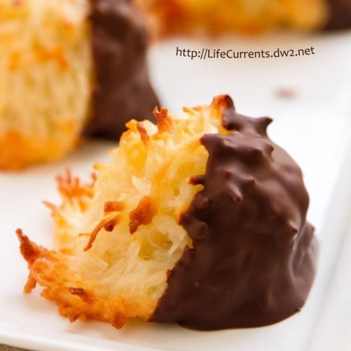 Peanut Butter Stuffed Chocolate Cookies featured recipe for Chocolate Dipped Coconut Macaroons - These are definitely one of my favorite cookies - crunchy toasted exterior with a chewy soft inside