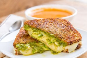 Three Cheese Pesto Avocado Grilled Cheese Sandwich
