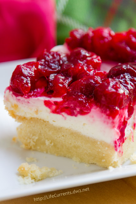 Cranberry Cheesecake Dream Bars with an Almond Shortbread Crust