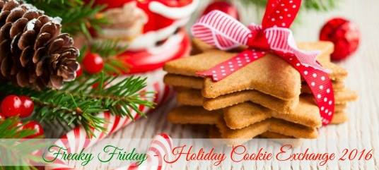 Virtual Cookie Exchange banner with cookies and a pine cone.