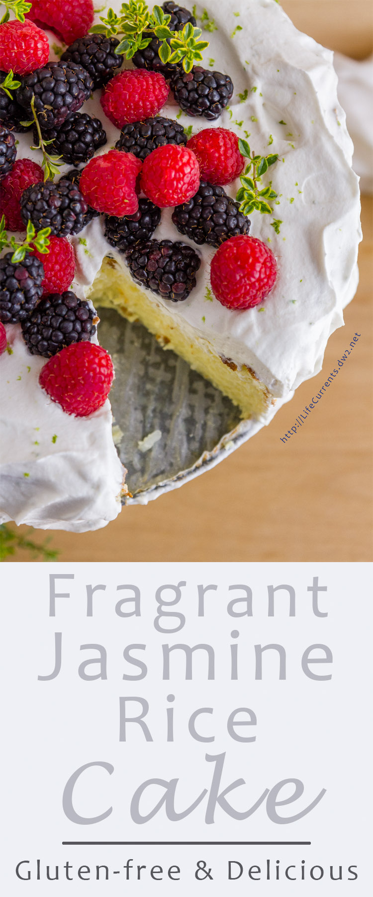 Fragrant Jasmine Rice Cake - pretty gluten-free cake with fragrant cardamom & lime scented rice pudding insides all crowned with lime whipped cream & berries