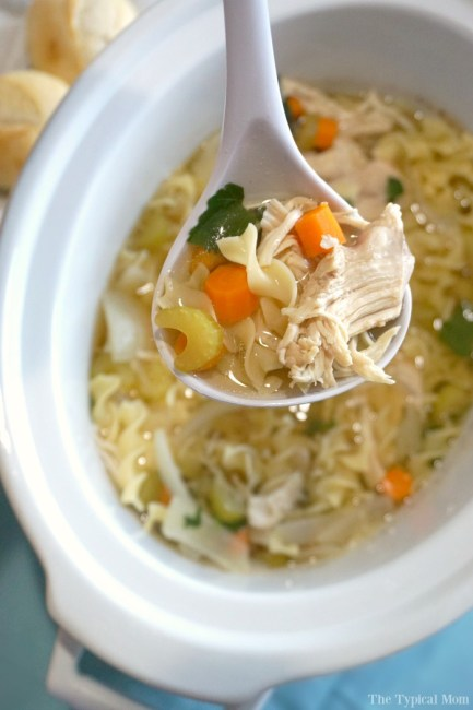 Easy Crock Pot (Slow Cooker) Meals - Chicken soup in the crockpot from The Typical Mom