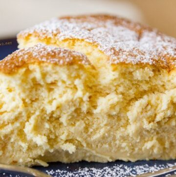 Lemon Soufflé Cheesecake - light and airy, creamy, delicious! And, it was easy to make. We ate it for dessert, but we also ate it for breakfast! I mean, a light sweet cheesecake breakfast is just what this birthday girl needs!