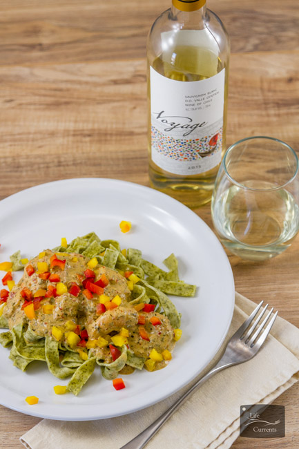 Creamy Pesto Shrimp Pasta pairs so well with a lovely white wine