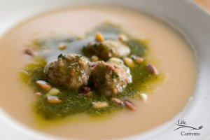 Slow Cooker Pesto Potato Soup with Meatballs
