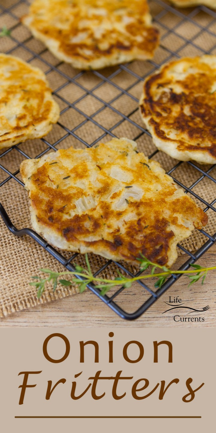 Onion Fritters - All the taste of an onion ring in a simple to make little fritter (pancake). These are great as a side dish or as a fancy appetizer!