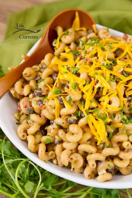 Mexican Chicken Fingers featured recipe for Loaded Southwestern BBQ Pasta Salad
