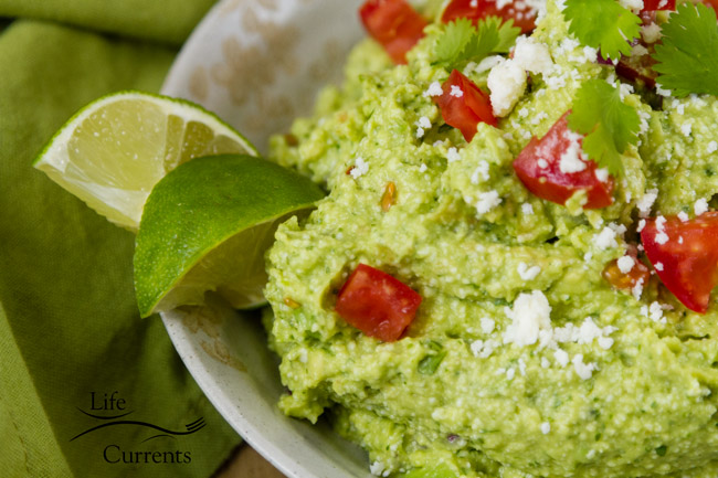 This Mexican Avocado Cotija Dip is so good! A nice salty, but not overpowering, flavor from the Cotija cheese, balancing the creamy avocado.