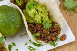 Easy Lentil Tacos with Smashed Avocado - They're super healthy, loaded with good for you protein, fiber, and veggies! These vegan, gluten free tacos will be a family favorite for taco Tuesday, or any day!