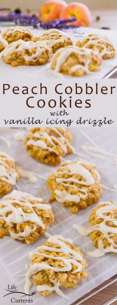 Peach cobbler cookies with vanilla icing drizzle recipe