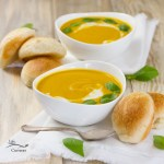 Pumpkin Coconut Soup - I've paired my delicious vegan fall flavored soup with Rhodes dinner rolls for a nice hearty warming dinner that doesn't take too long to make