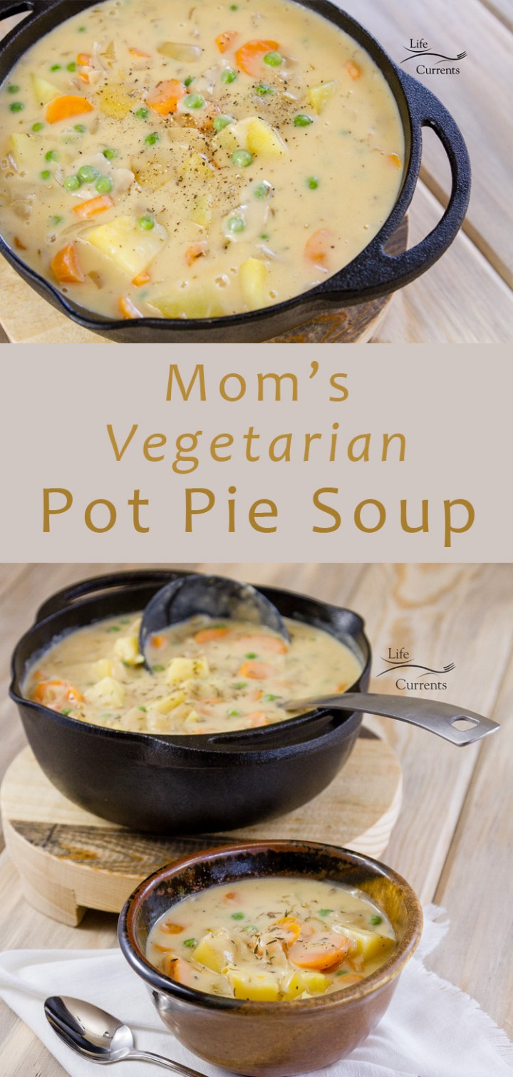 Mom's Vegetarian Pot Pie Soup is easy and delicious. No baking required, just some stove-top work. it's the kind of recipe I really wanted when I turned vegetarian all those years ago (wow, it was 28 years ago!!). It's comfort food that reminds me of being a kid. #ad #yesmyuncommongoods