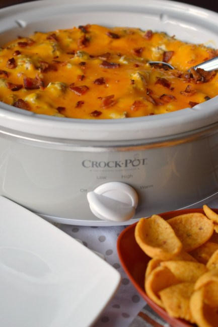 October is Tailgating Snacks Month 2017 -Loaded Slow Cooker Cheeseburger Dip