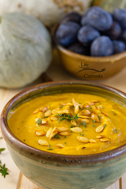 Roasted Butternut Squash Soup with Roasted Butternut Squash Seeds It's warm and comforting. It's happy. It's really good for you. Everything about it is great.