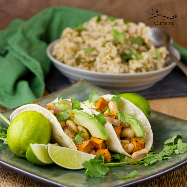 Rice Cooker Cilantro Brown Rice and White Bean & Sweet Potato Taco Filling featuring Goya Foods ~~~ easy and delicious for Meatless Monday