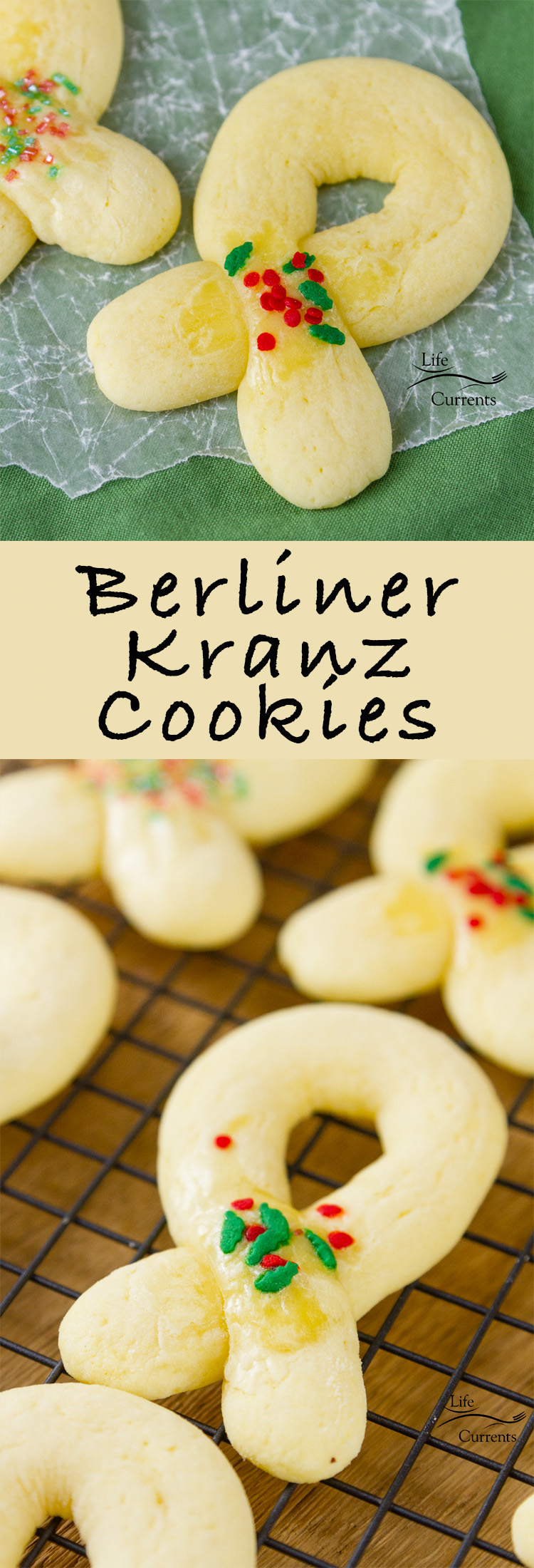 "Berliner Kranz Cookies are Norwegian Christmas Cookies which translate into ""Berlin Wreaths"" - traditionally made into wreath shapes & decorated with some little bit of red and green sugars - great for cookie exchanges"