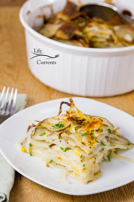 Skinny Potato and Onion Bake Casserole Perfect for holidays or just serving with a weeknight dinner.