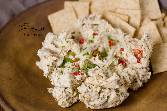 Creamy Chicken Pimento Spread - A creamy delicious topping for crackers, perfect for all your parties, like the big game or any holiday party!
