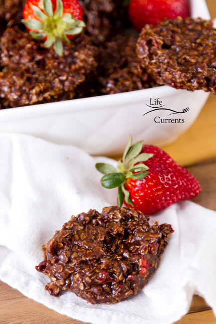 Chocolate Covered Strawberry No Bake Candy Cookies Recipe a cookie on a white napkin with a strawberry