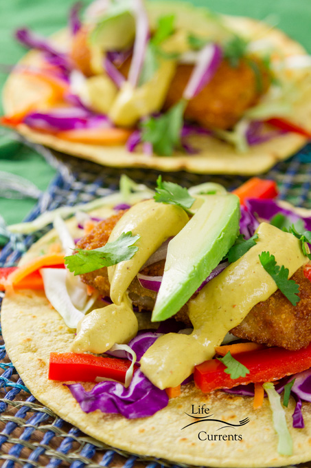 The Best Avocado Sauce on fish tacos with avocado, red cabbage, green cabbage, and veggies