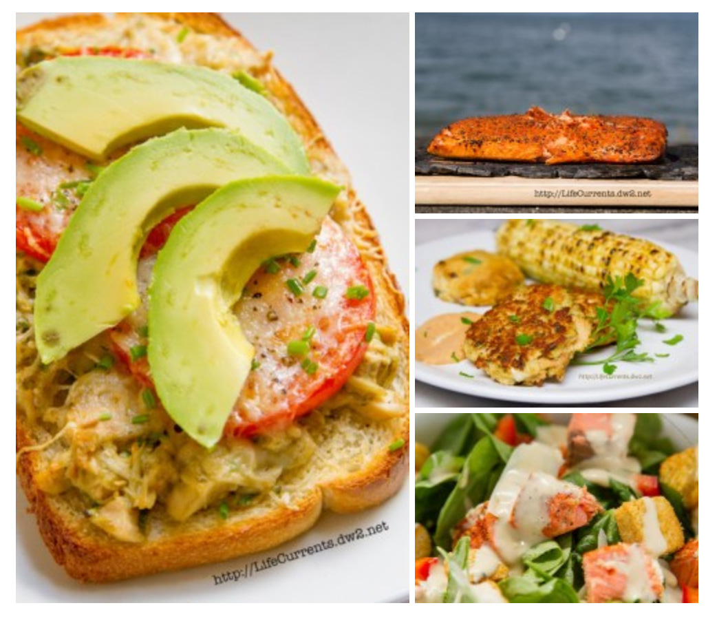 Seafood Recipes for Lent collage with 4 great seafood pictures