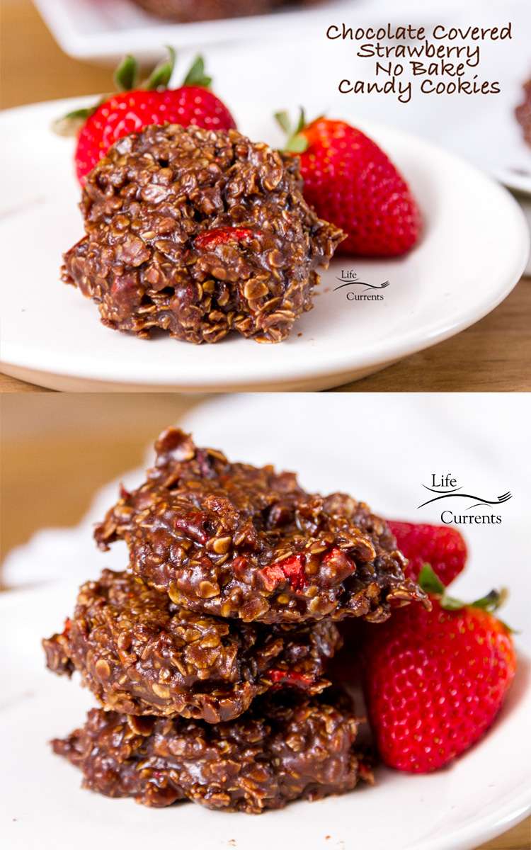 Chocolate Covered Strawberry No Bake Candy Cookies - With the little red chunks of sweet tart strawberry sticking out of the chocolaty oats, these are definitely a winner. And so easy to make. #cookies #candy #dessert #easytomake