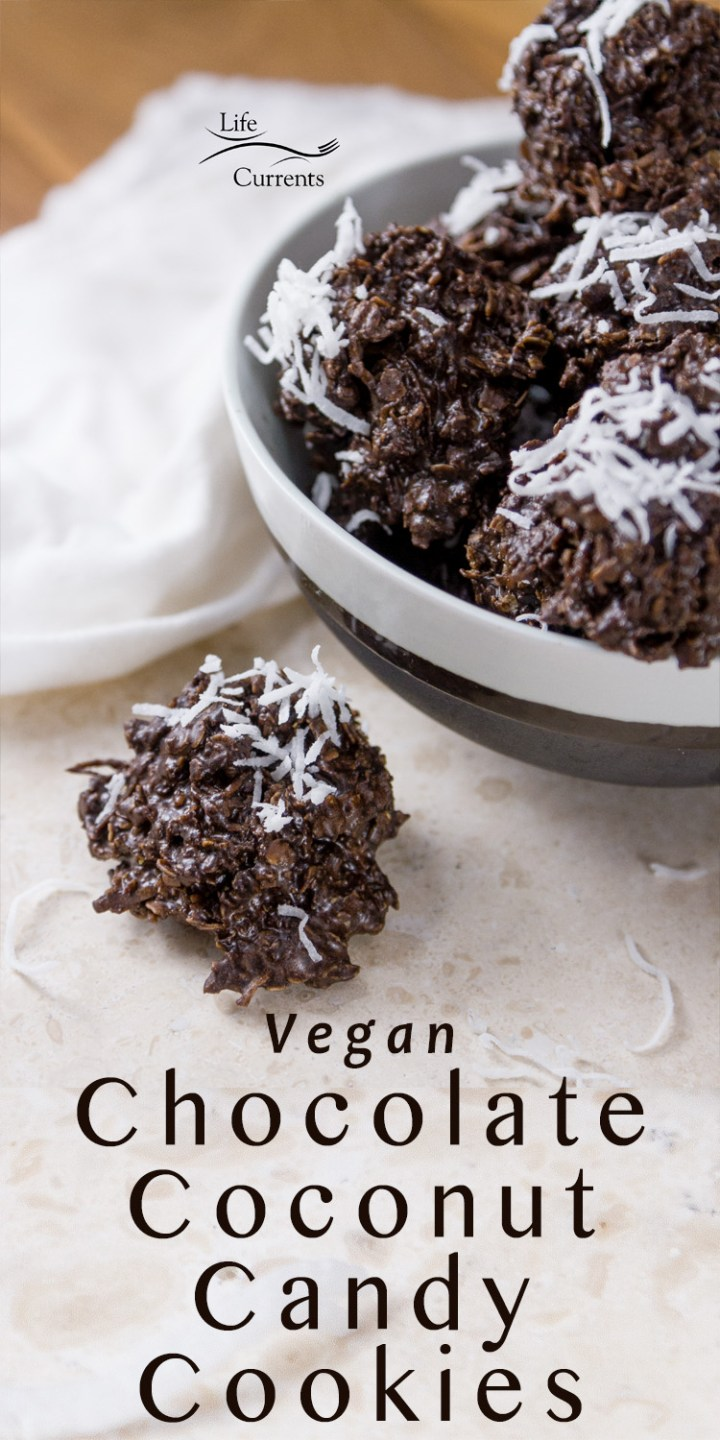 Vegan Chocolate Coconut Candy Cookies- one on the table and several others in a bowl, with the title and a white napkin