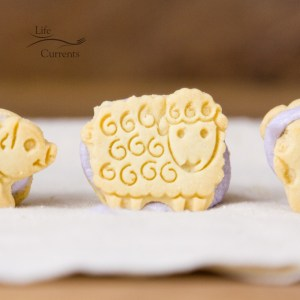 Animal Cracker Sandwich Cookies - close up of a lamb cookie