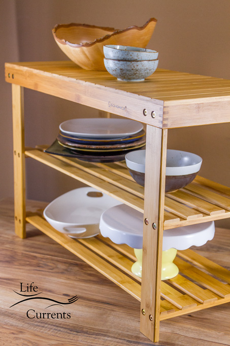 2-tier Shoe Bench Organizing Rack Entryway Storage Shelf used as storage for blogger props