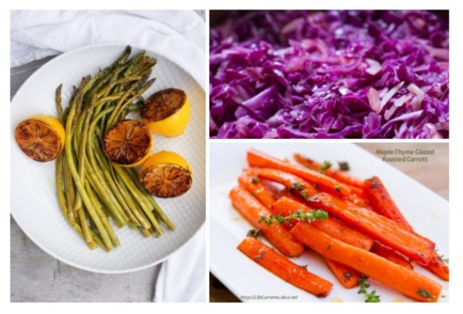 Simple Veggie Side Dishes that are perfect for the holidays collection of side dish images asparagus, cabbage, and carrots