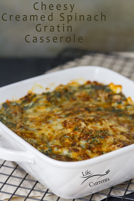 Cheesy Creamed Spinach Gratin Casserole in a white casserole dish on a cooling rack with logo