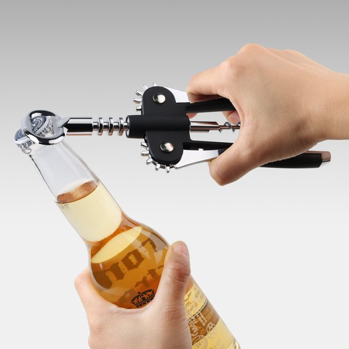 Corkscrew Wine Opener and Wine Foil Cutter Giveaway with a beer bottle opener - Opener bottle products gift gifts Stainless steel free giveaway time announcement winner cork open a bottle of wine without breaking the cork opening grip hands Sturdy