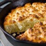 Skillet Buttermilk Butter Biscuits - Dense flavorful buttermilk biscuits develop a buttery crispy crust when baked in a cast iron skillet.