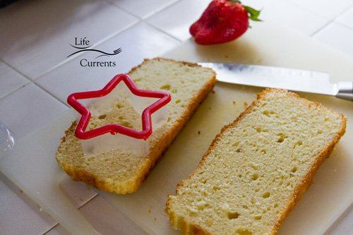 Patriotic Trifle Dessert - cut stars out of the pound cake